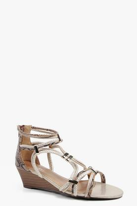 Abigail Metal Trim And Multi Strap Demi Wedge