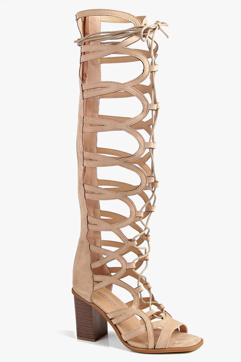 Eva Over The Knee Ghillie Block Heel