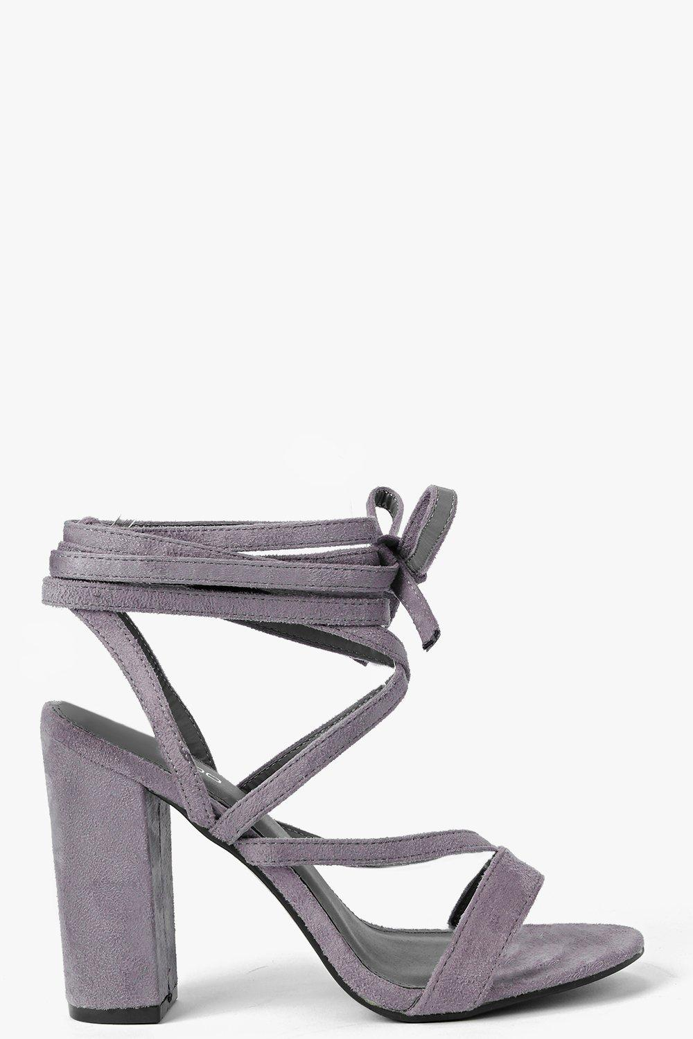 Wrap Strap Two Part Block Heel grey