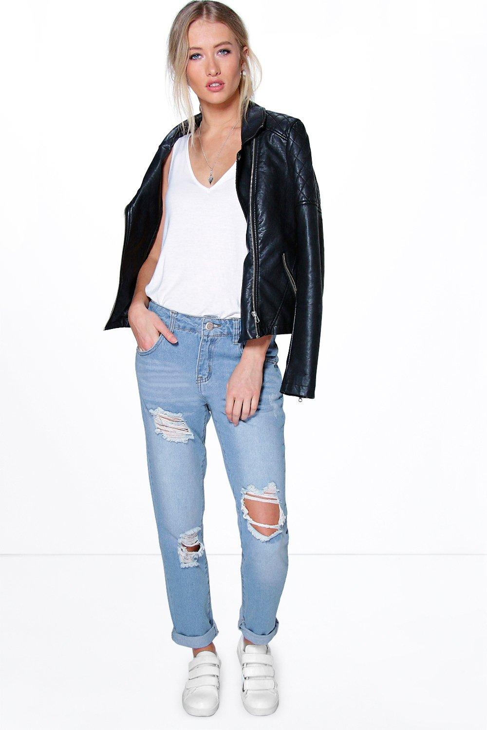 Lola Open Knee Frayed Boyfriend Jeans