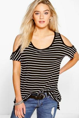 Rose Stripe Cold Shoulder Tee