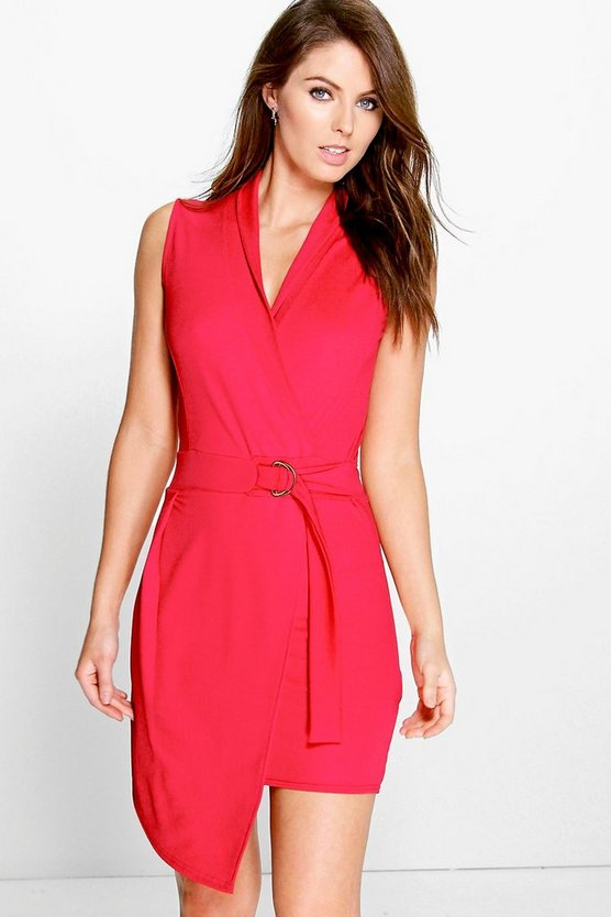 Nadya Wrap Buckle Detail Bodycon Dress