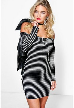 Lisandra Stripe Bardot Bodycon Dress