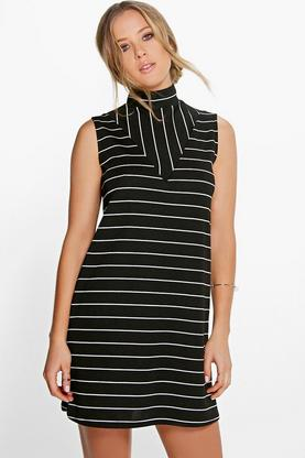 Soraia Mixed Stripe High Neck Shift Dress
