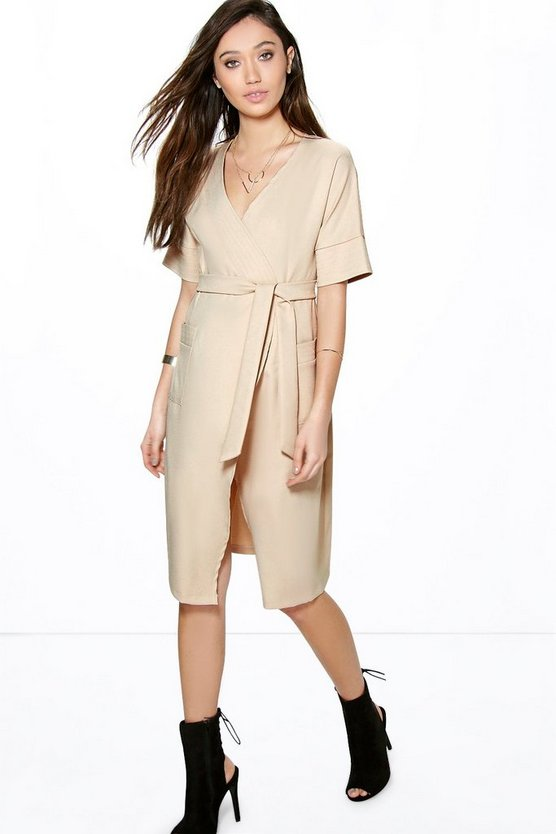 Ginger Wrapover Tie Waist Dress
