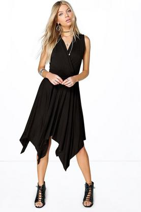 Lala Wrap Front Asymmetric Dress