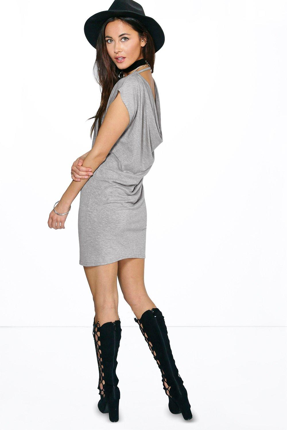 Holly Short Sleeve Drape Back Dress