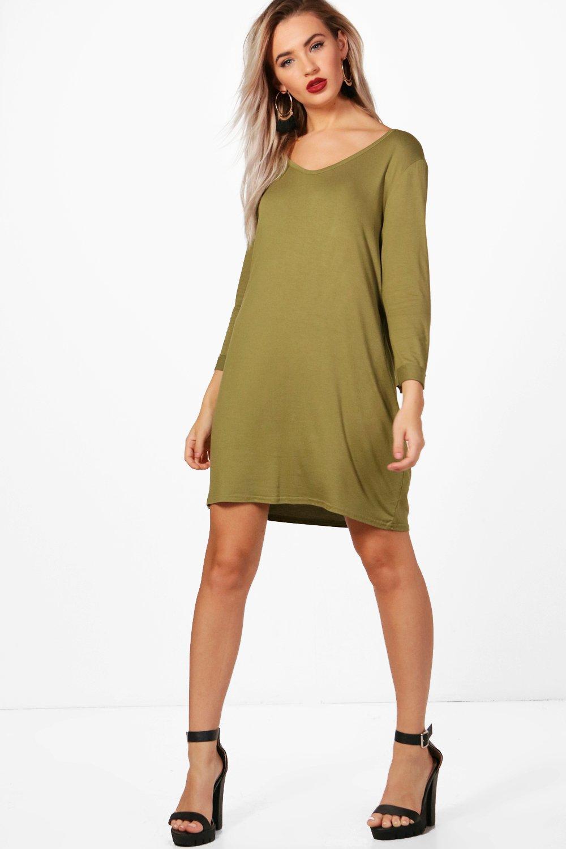 V Neck T-Shirt Shift Dress olive