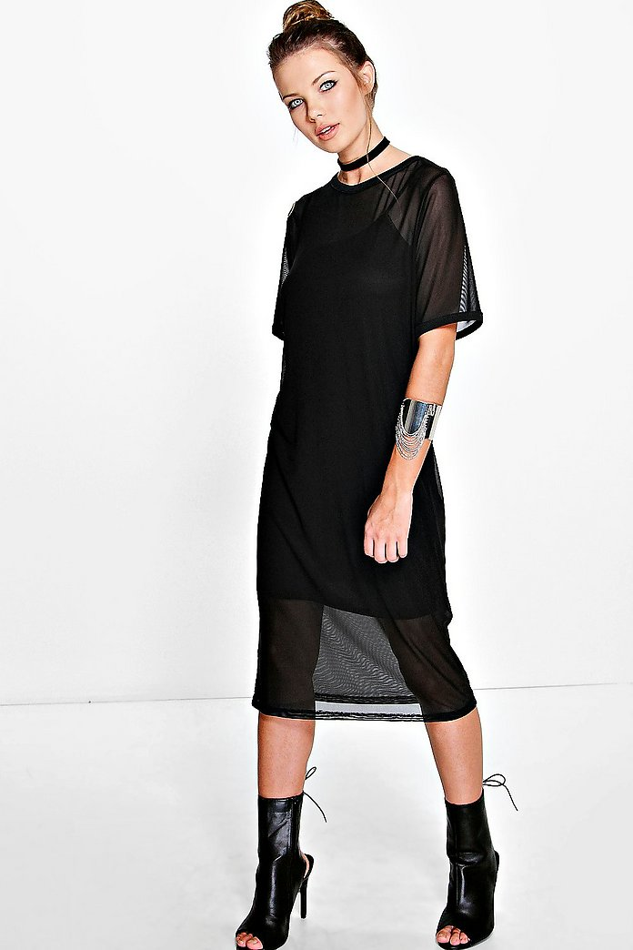 Oana Mesh Shift Dress