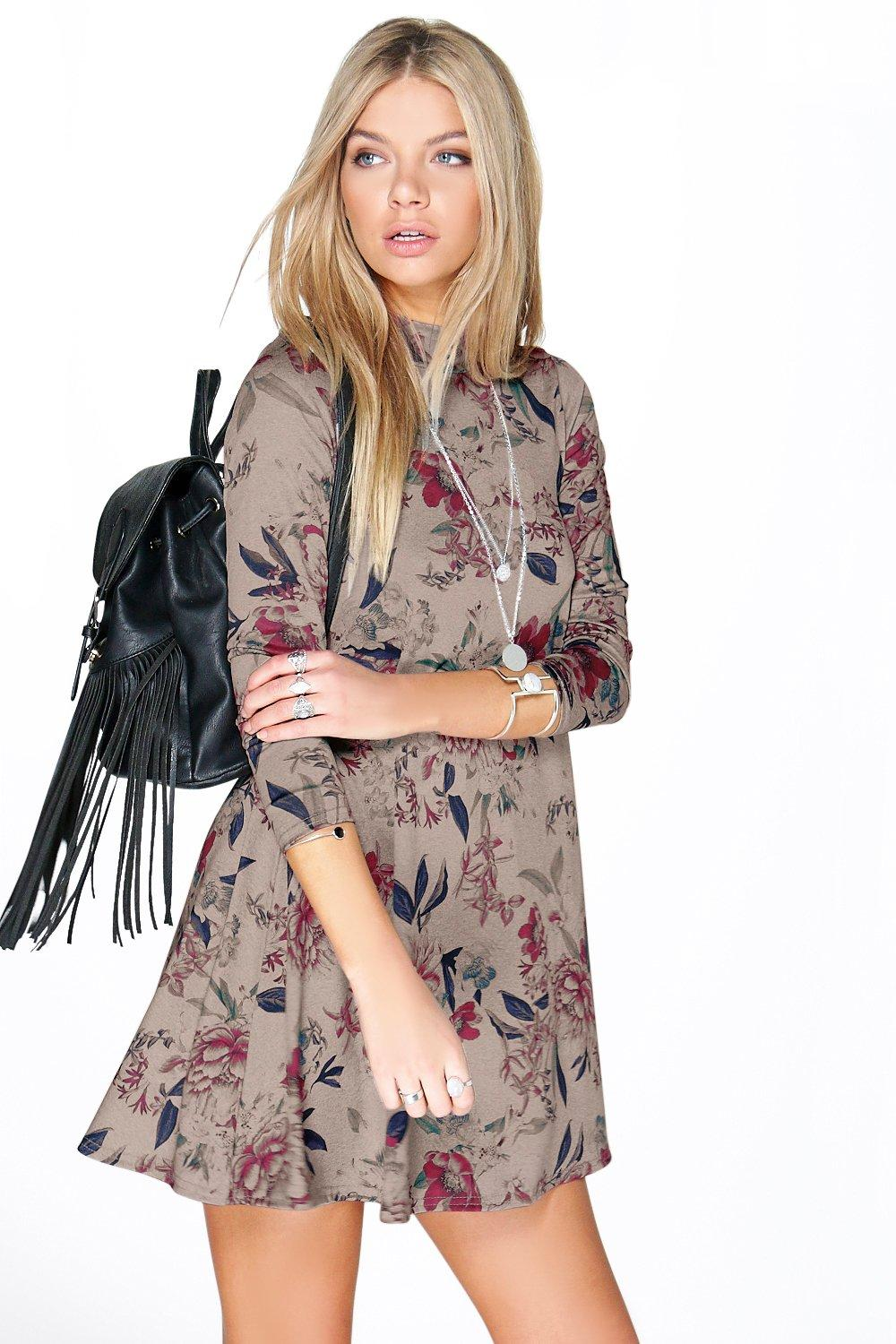 High Neck Swing Dress multi