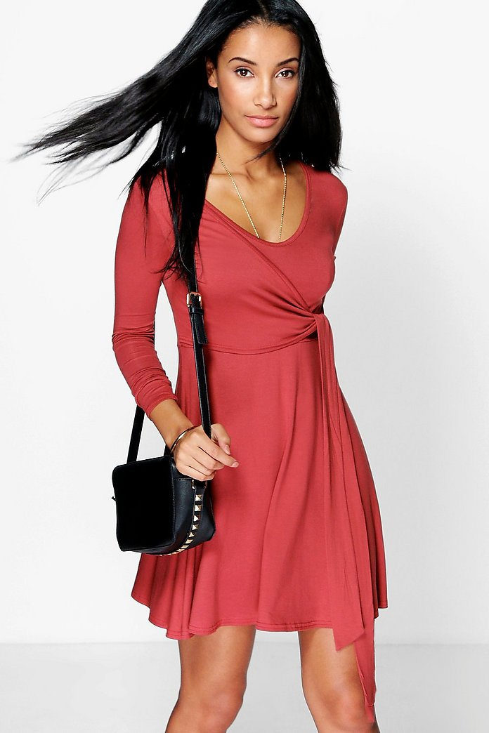 Daria Drape Tie Side Skater Dress