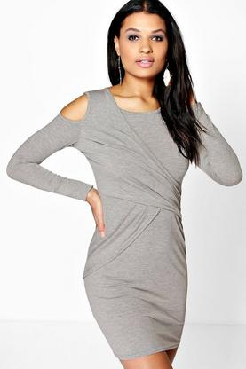 Tanya Cold Shoulder Drape Bodycon Dress