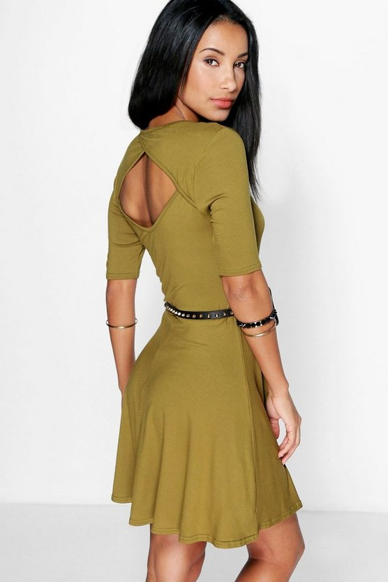 Adina Wrap Open Back Skater Dress