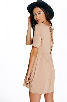 Andrea Lace Up Back Skater Dress