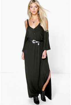 Amy Button Front Cold Shoulder Maxi Dress