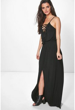 Ria Ruffle Lace Split Front Maxi Dress