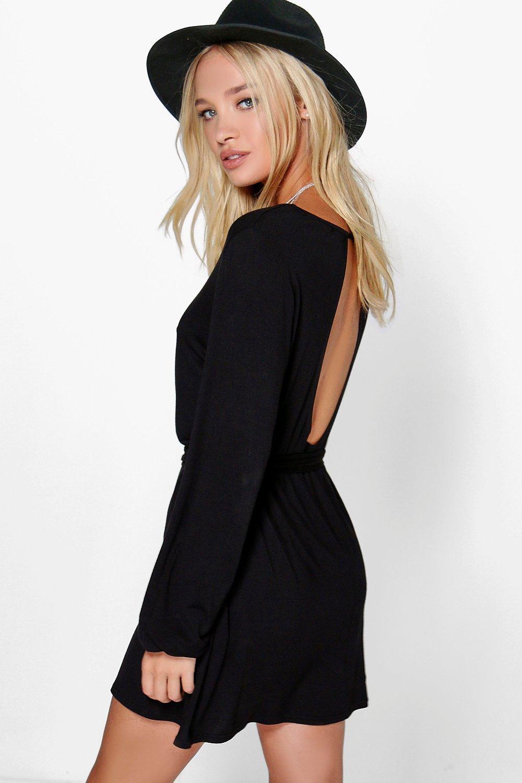 Keyhole Back Tie Waist Dress black
