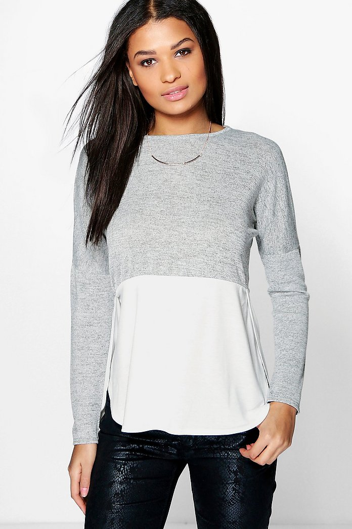 Rosie Oversized Long Sleeve Knitted Panel T-Shirt