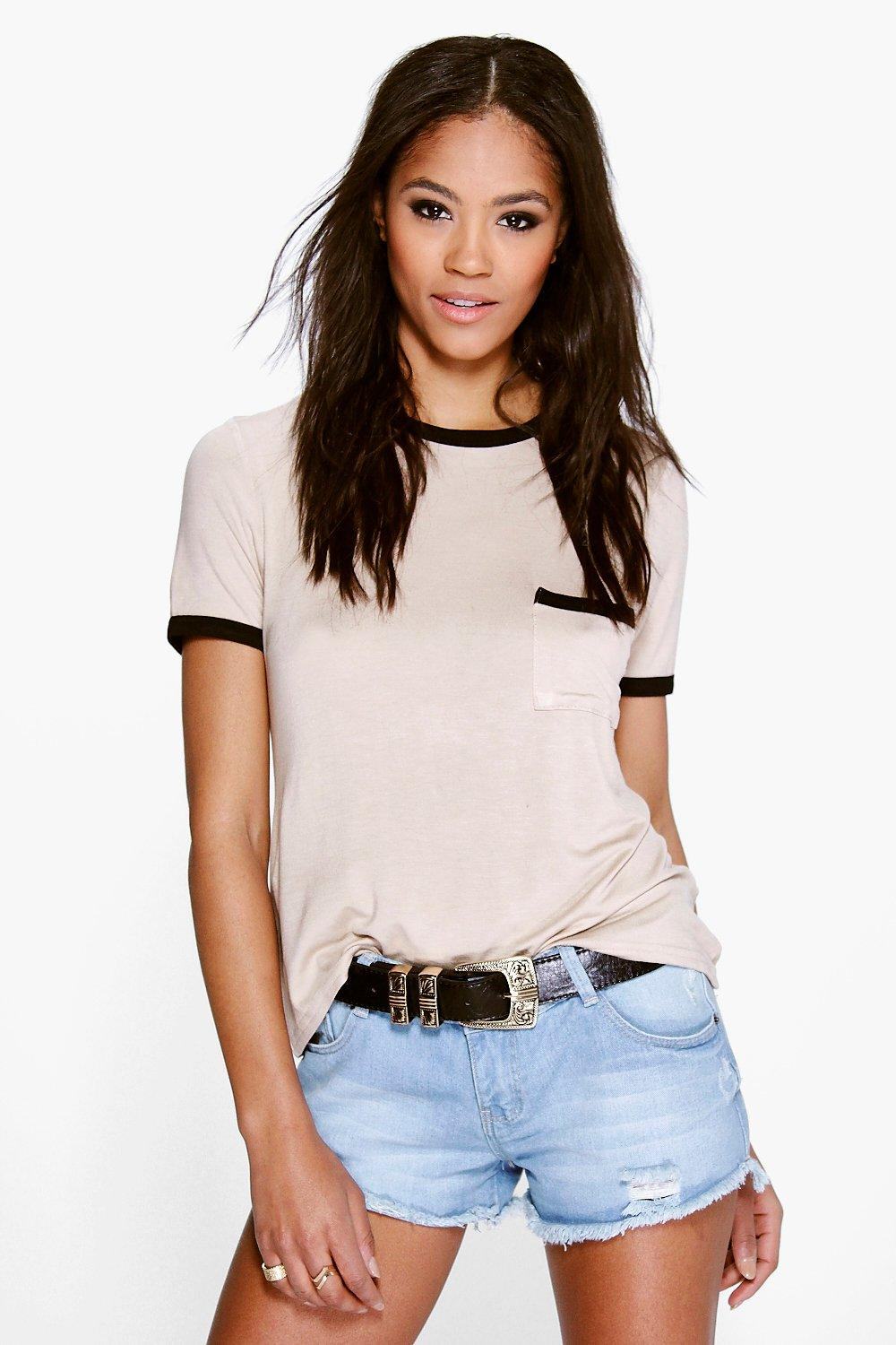 Ava Contrast Binding Pocket Tee