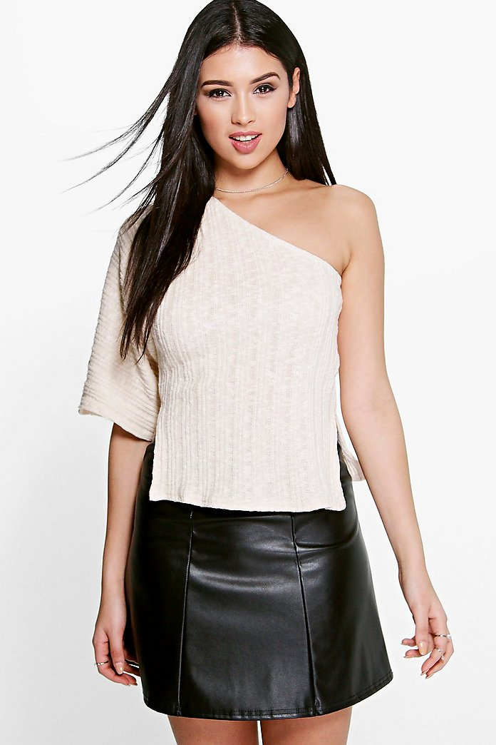 Sara One Shoulder Split Side Knitted Jumper
