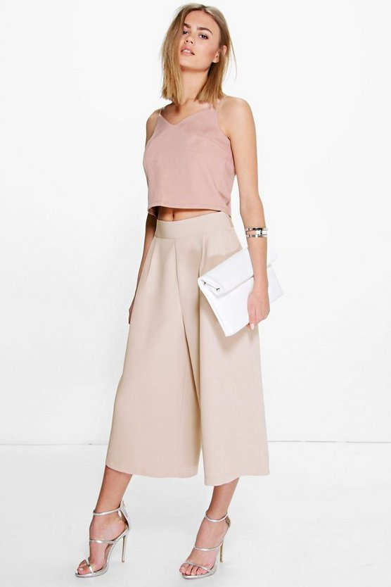 Arianna Pleat Front Wide Leg Tailored Culottes