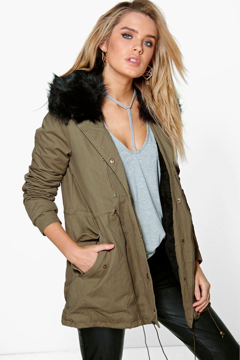 Boutique Faith Faux Fur Collar Parka