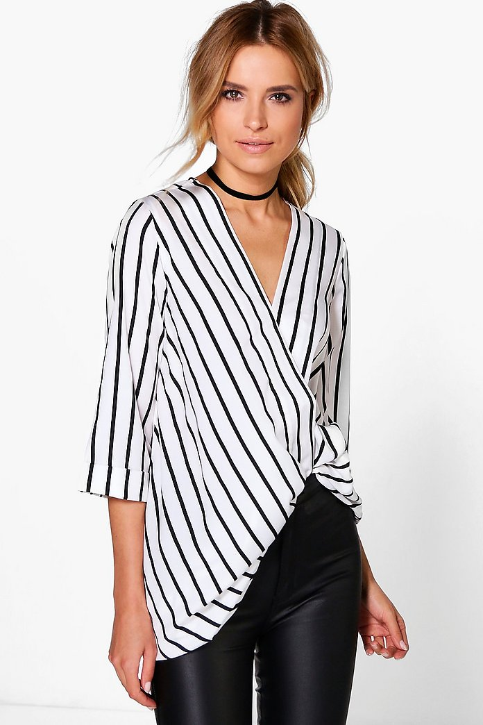 Holly Stripe Drape Front Long Line Tunic