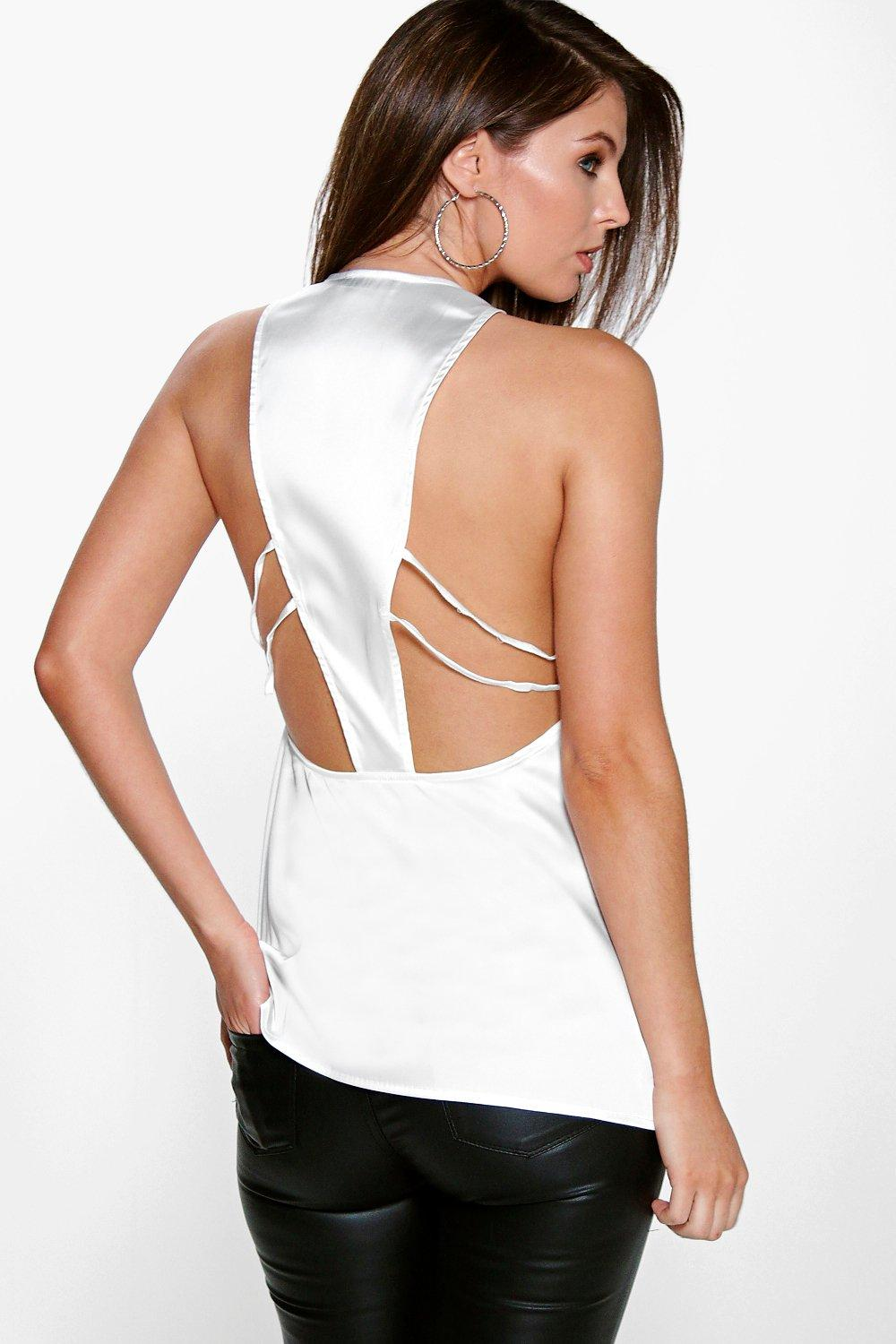 Tia Woven Silky Multi Strappy Back Top
