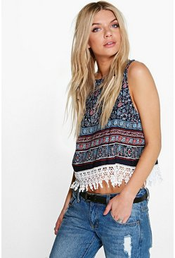 Willow Floral Crochet Trim Top