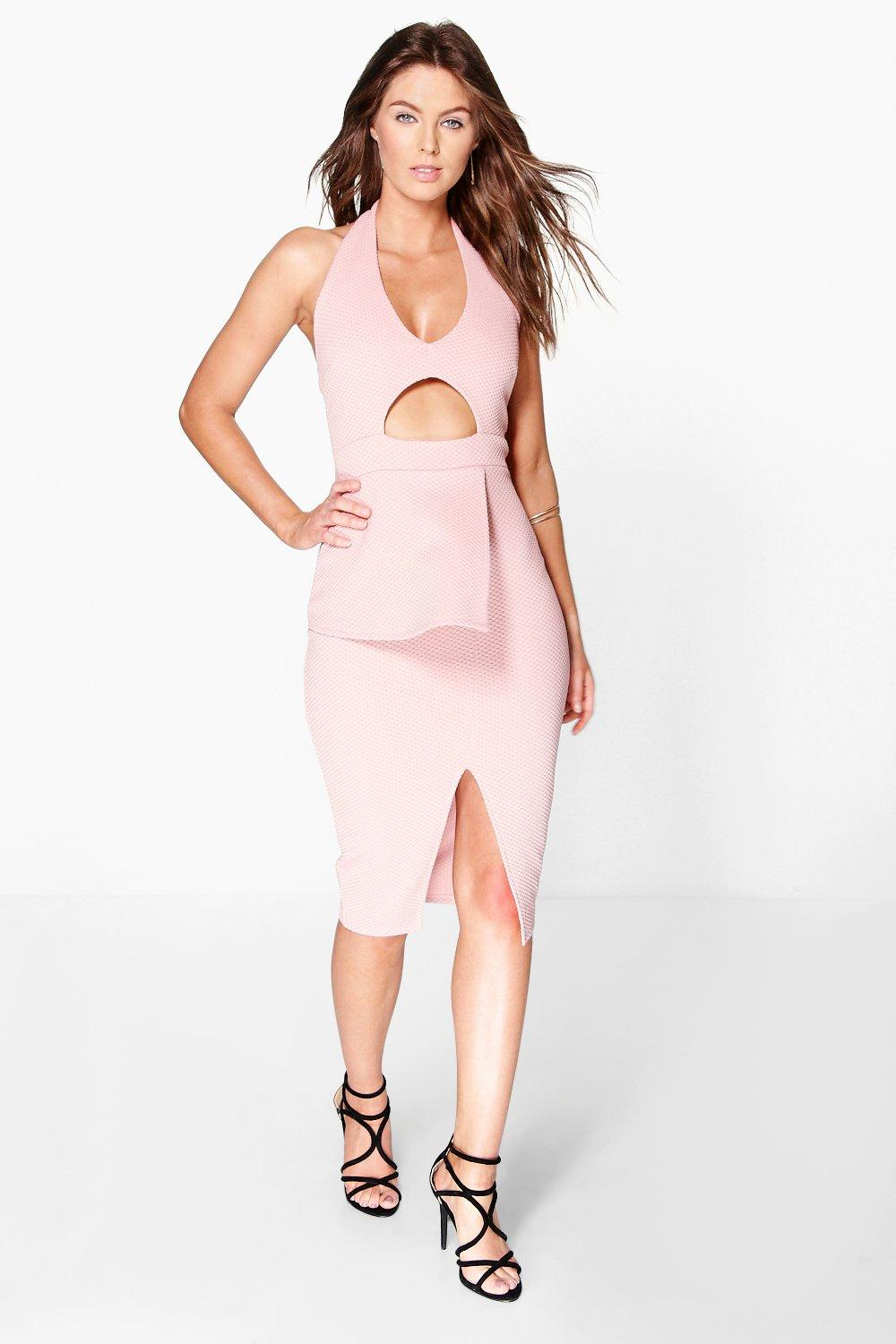 Georgie Peplum Cut Out Detail Midi Dress