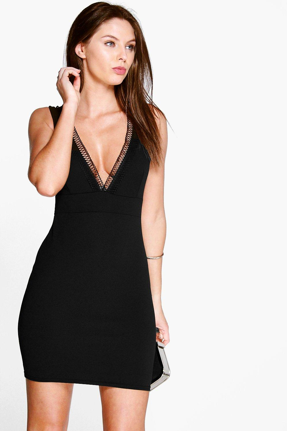 Meg Plunge Neck Trim Detail Bodycon Dress