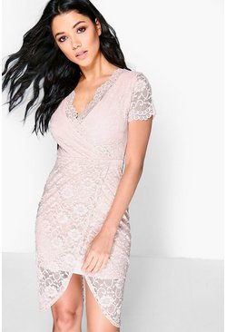 Aneta Lace Wrap Asymmetric Midi Dress