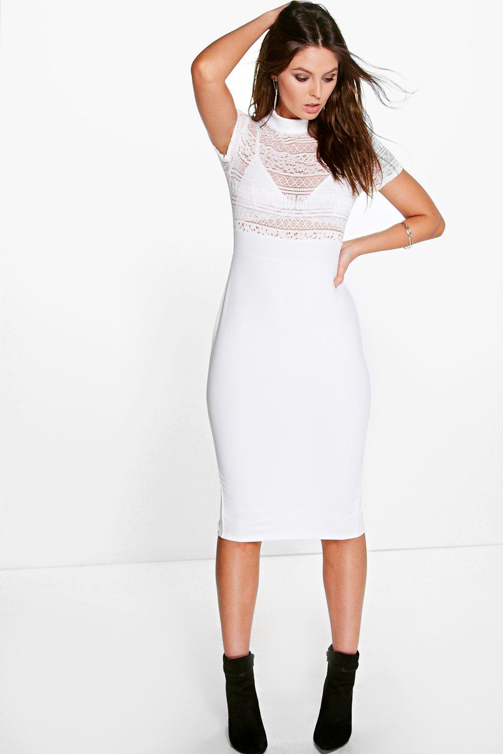 Fifii High Neck Lace Top Short Sleeve Midi Dress