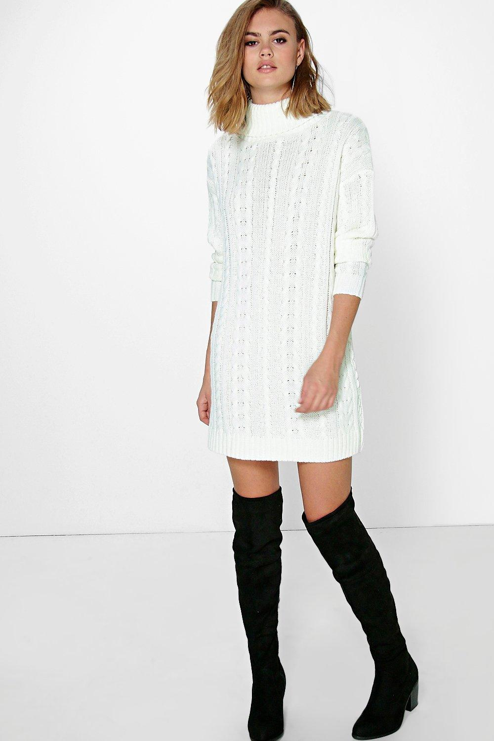 Alice Roll Neck Cable Knit Jumper Dress