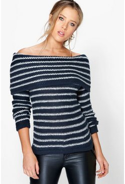 Erin Soft Knit Stripe Bardot Jumper