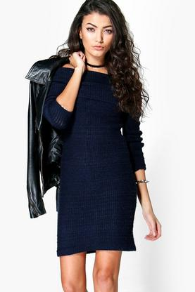 Evie Soft Knit Bardot Jumper Dress