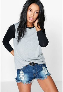 Grace Contrast Sleeve + Neck T-Shirt
