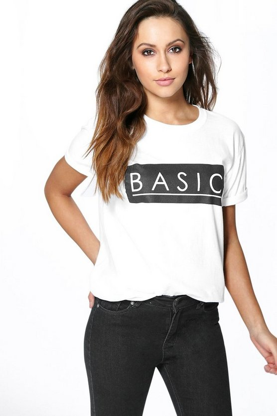 Ella Basic Slogan Box Tee