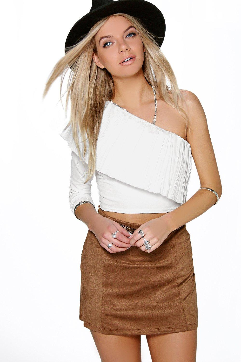 Sophie One Shoulder Pleat Frill Top