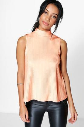 Freya Shine Rib High Neck Sleeveless Top