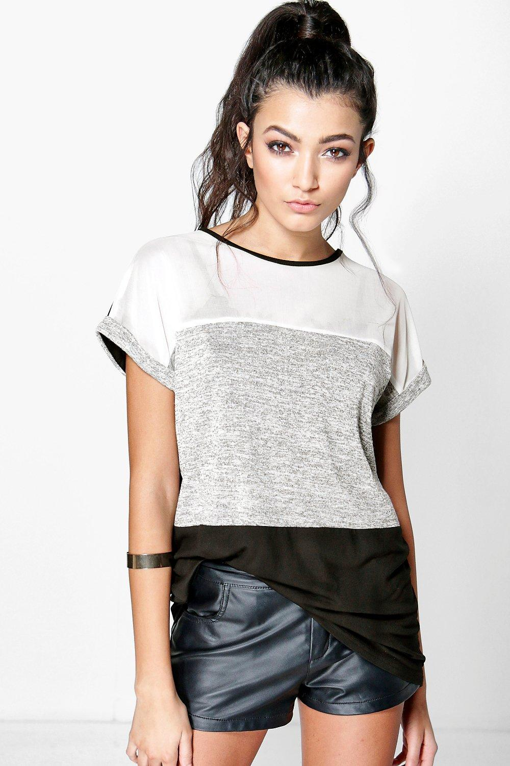 Lilly Mesh Panel Knitted T-Shirt