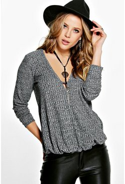 Amy Knitted Wrap Front Plunge Top
