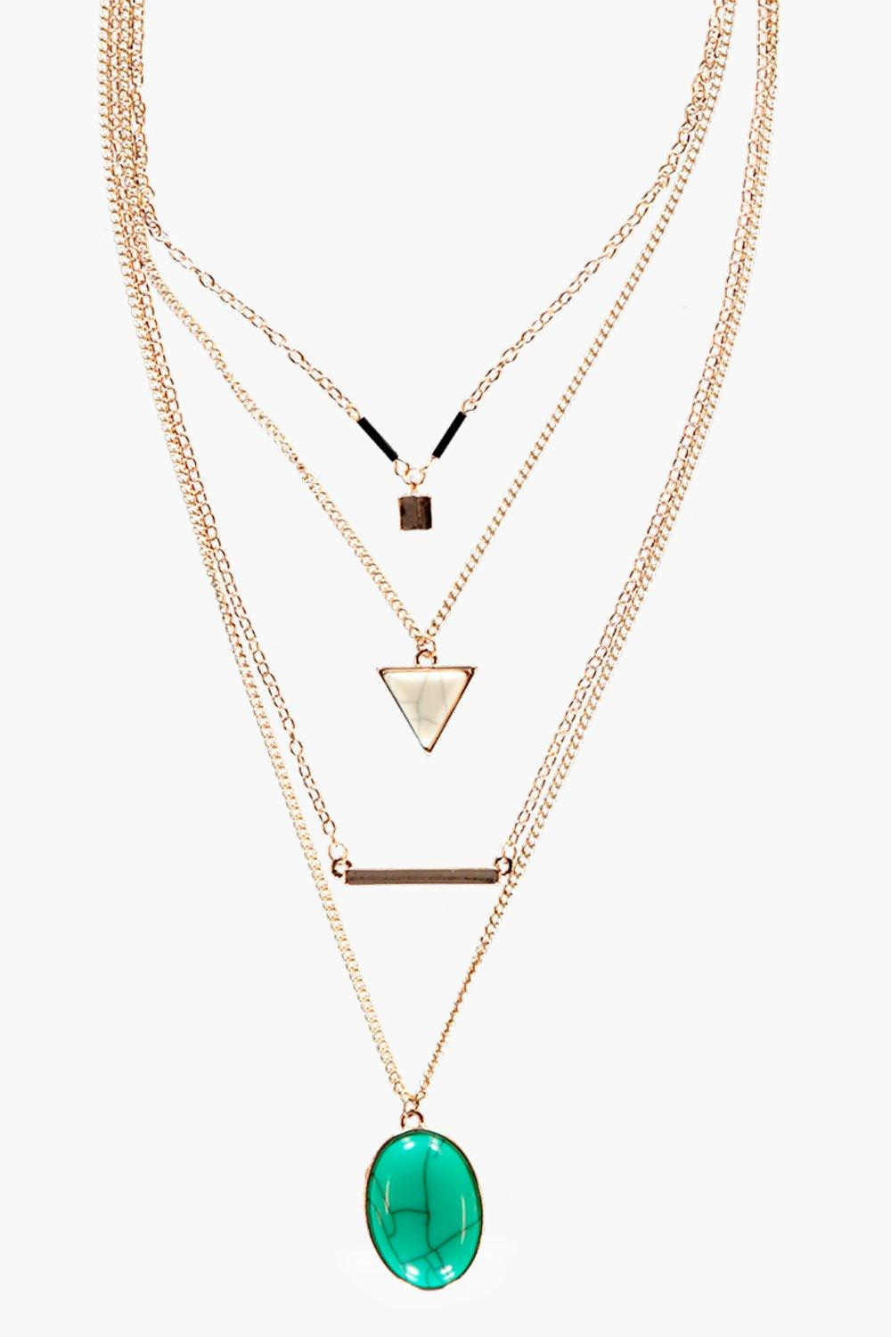 Bella Layered Stone Detail Necklace