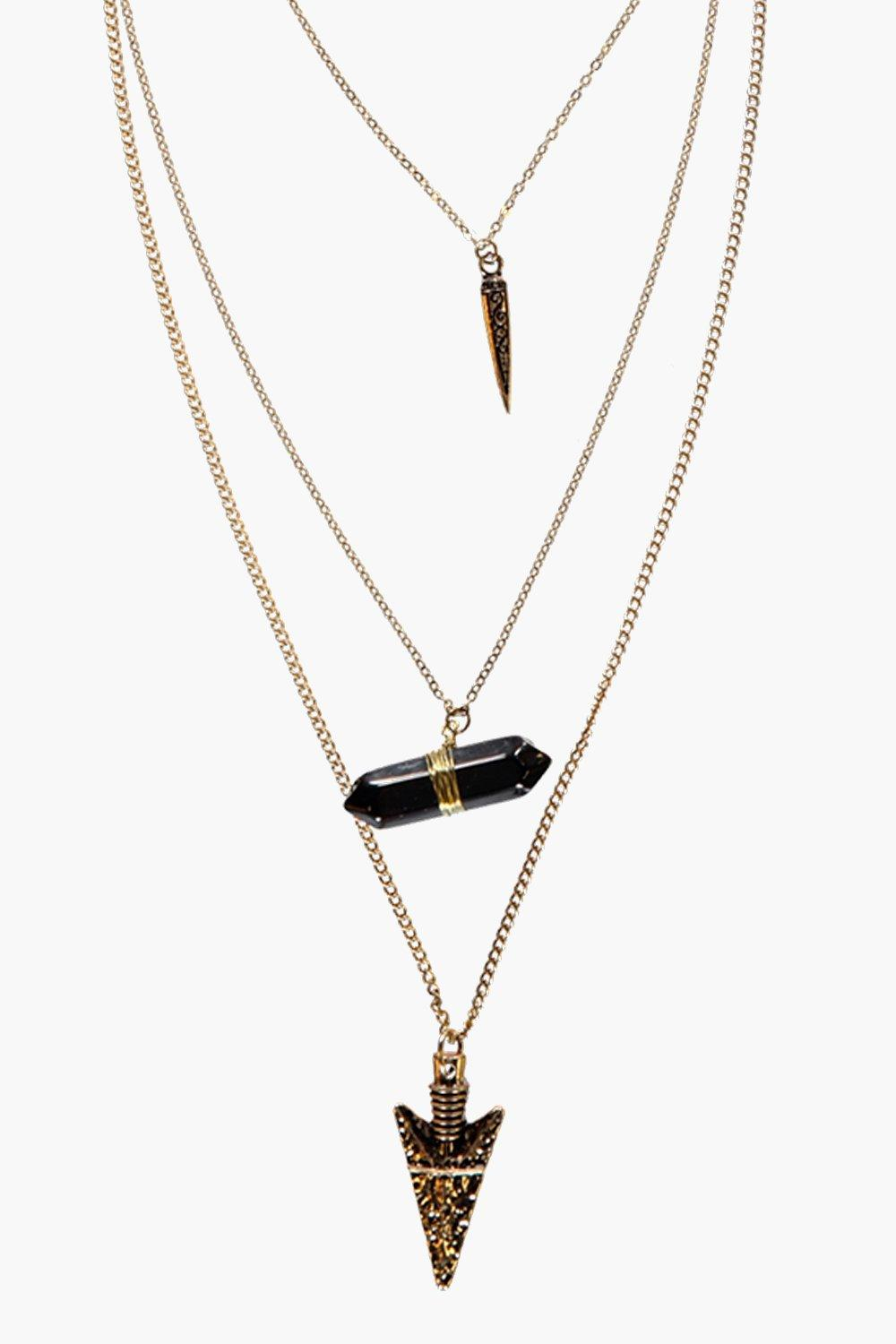 Ruth Layered Spike And Crystal Necklace