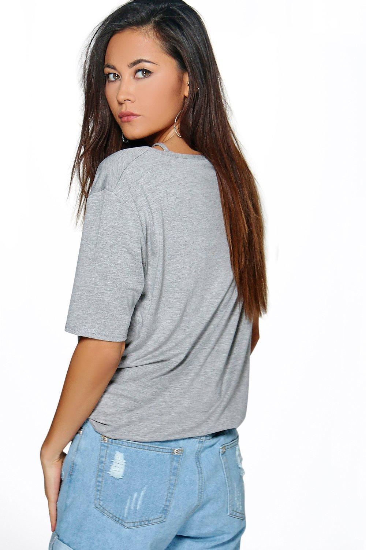 Boohoo-Molly-T-shirt-Con-Spalline-E-Motivo-A-Gabbia-per-Donna