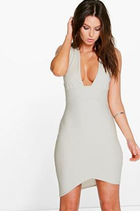 Jayne Plunge Asymetric Hem Bodycon Dress