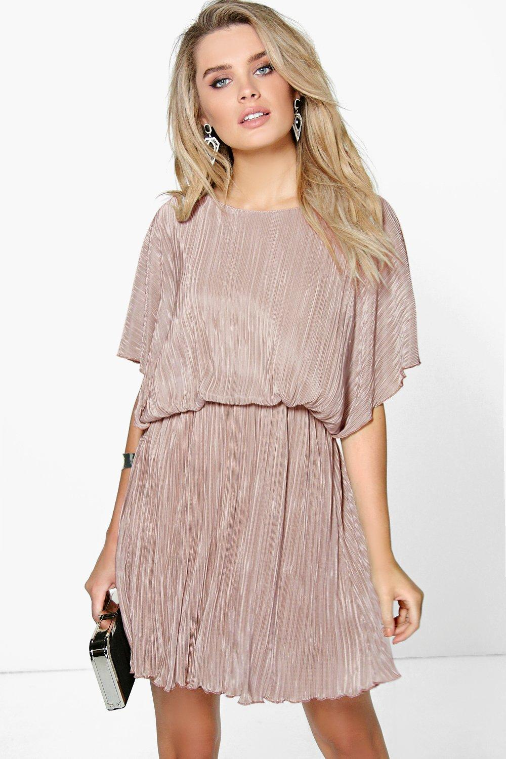 Caitlin Pleated Kimono Sleeve Skater Dress