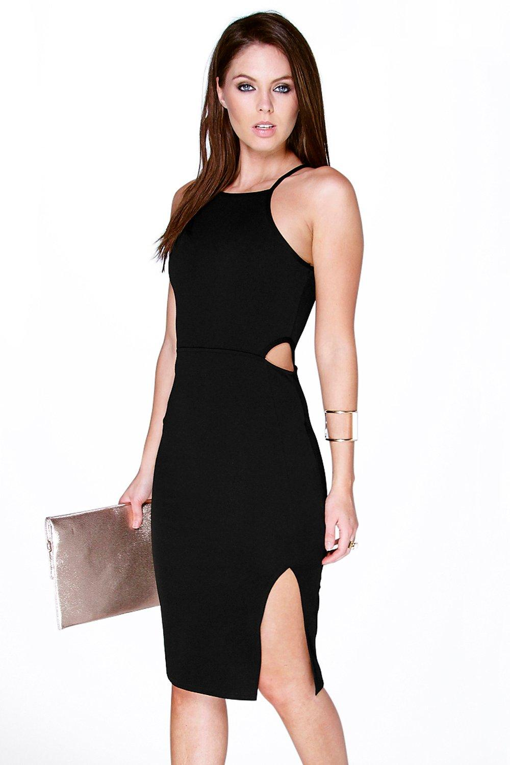 Philippa Textured Cut Out Waist Midi Dress