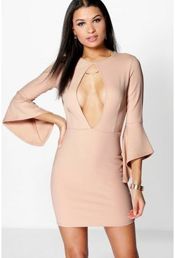 Dolly Keyhole Flared Sleeve Bodycon Dress