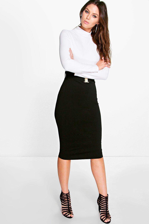 Contrast Colour Belted Midi Dress black